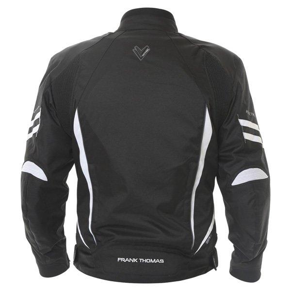 Frank Thomas FTW356 Kinetik Mens Black White Textile Motorcycle Jacket Back