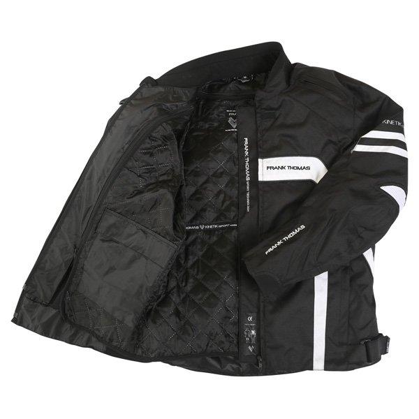 Frank Thomas FTW356 Kinetik Mens Black White Textile Motorcycle Jacket Inside