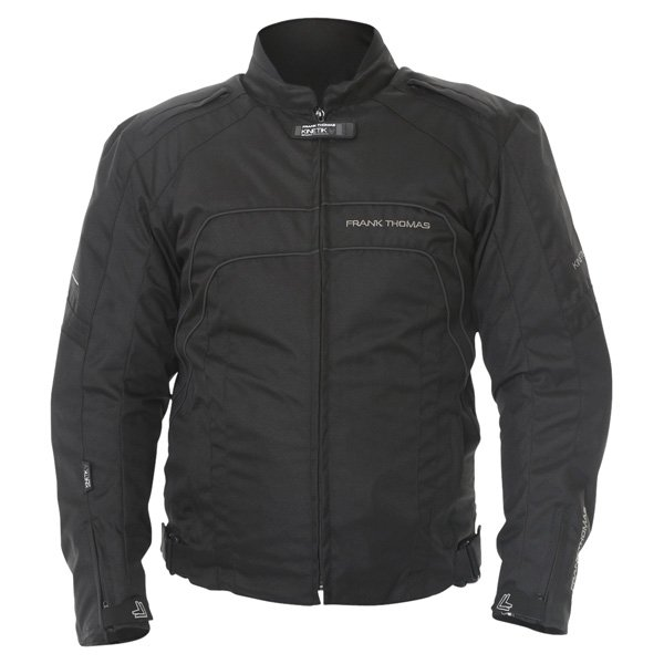Frank Thomas FTW356 Kinetik Mens Black Textile Motorcycle Jacket Front